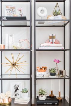 Who says everything has to cost a pretty penny? The shelving is simply from Ikea, but it's the accessories that make it POP! Cue the piece from St. Frank, HD Buttercup, and Tom Dixon.