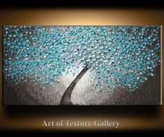 Painting Abstract Texture Large Oil Impasto Original Modern Aqua Teal Beige Brown White Tree Floral