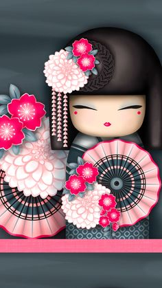 "✿ Kimmi Doll ~ ""Kanako"" geisha 'Flamboyant' ✿ Find more wallpapers for your + Art Japonais, Asian Doll, Thinking Day, Japanese Embroidery, Embroidery Ideas, Kokeshi Dolls, Matryoshka Doll, Momiji Doll, Little Doll"