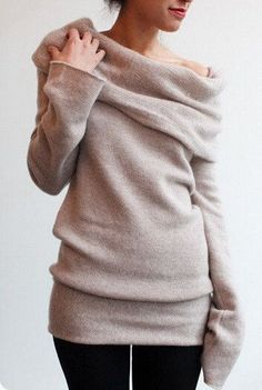 Off Shoulder Side Split Dipped Hem Knit.  Love this sweater!  That too long sleeve looks stupid, though.
