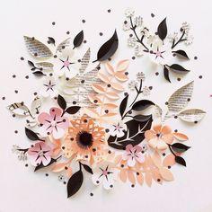 Paper Crafts = Hanna Nyman Paper poetry by Stockholm based designer and print designer Hanna Nyman. WebShop on website.   #floral #dotty #prickigt #flowers #paper #paperart #illustration #fotoutmaningmars2015 #dscolor