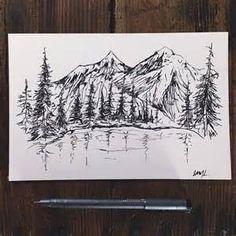 mountain tattoo and trees