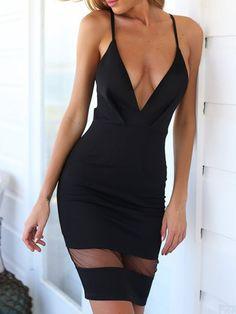 Black Plunge Sheer Panel Lace Cut Out Back Dress