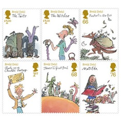 Quentin Blake's illustrations as british stamps. Also as pins. Love the creepy witches the best.