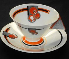 Shelley Art Deco Vogue Orange Fruit Tea Cup and Saucer-if I was going to collect china....