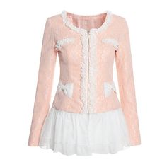 Color Block Sweet Style Lace Splicing Long Sleeves Detachable Ruffles Two-Ways Jacket For Women