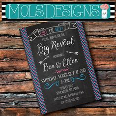Any Color GENDER REVEAL CHALKBOARD Chevron Couples by MolsDesigns