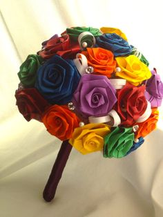 Rainbow Paper Rose Bouquet,this would be perfect since i am allergic to flowers