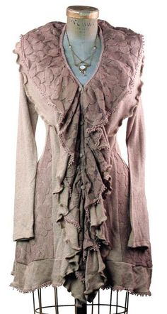 """""""Dusty Lace"""" pastel mauve purple long cardigan sweater with ruffles from Victorian Trading Co."""