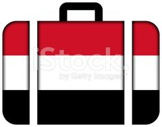 Suitcase with Yemen Flag royalty-free stock photo