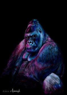 Neon Gorilla Print from original color pencil drawing