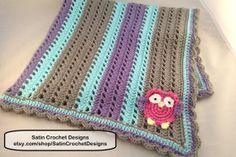 Striped Owl Crochet Baby Blanket by SatinCrochetDesigns on Etsy