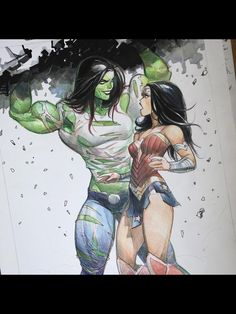 She-Hulk and Wonder Woman by Otto Schmidt Marvel Fanart, Marvel Comics Art, Marvel Heroes, Marvel Vs, Comic Book Characters, Marvel Characters, Comic Character, Comic Books Art, Comic Art