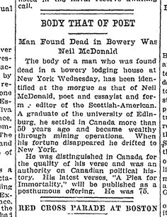 """""""BODY THAT OF POET - MAN FOUND DEAD IN BOWERY WAS NEIL MCDONALD"""" 1918."""