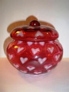 Fenton Glass CRANBERRY OPALESCENT HEART OPTIC PUFF BOX POWDER JAR 1998 Free Ship