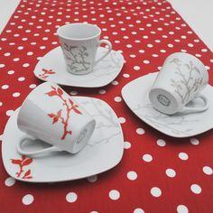 Έξι φλυτζάνια με τα πιατάκια τους για τον ελληνικό καφέ ή τον εσπρέσσο σε χρώμα γκρι και κοραλένιο. Tableware, Dinnerware, Tablewares, Dishes, Place Settings