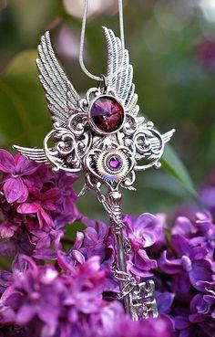 Purple key necklace