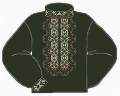 Домотканая чёрная мужская вышиванка ВМД-006Ч
