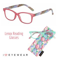 """Meet our new """"Lenox"""" reading glasses! Available in pink and green, and 1/4 increment power ranges from +0.75 to +4.0. You can also order our readers with """"No Power"""" and take them your eye doctor to fill with your Rx!"""