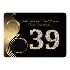 Shop Invitation,Number Diamond,Photo Invitation created by e_design. 35th Birthday Cakes, 39th Birthday, 30th Birthday Invitations, Birthday Cakes For Women, Photo Invitations, Birthday Woman, Happy Birthday, Cake Design For Men, Birthday Quotes