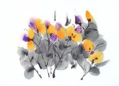 Pensamientos. 2014. Sumi-e , tintas sobre seda  en soporte rígido de 19 x 26,5 cm Alesso, Plants, Antique China, Silk, Ink, Thoughts, Art, Plant, Planets