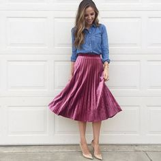 Merrick's Art via ASOS : Pleated Midi Skirt / Fashion / Style / Outfit / Chambray / Velvet Pleated Skirt, Pleated Skirt Outfit, Skirt Outfits, Dress Skirt, Pleated Skirts, Vestido Dress, Corset Dresses, Mini Skirts, Modest Outfits