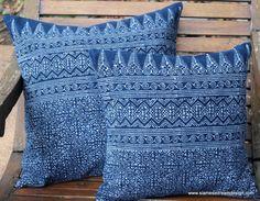 Indigo Batik Hmong Pillow In Natural Cotton by SiameseDreamDesign