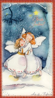sweet little Angels:):) Magical Christmas, Christmas Angels, Christmas Greetings, All Things Christmas, Vintage Christmas, Christmas Time, Christmas Cards, Illustration Noel, Christmas Illustration