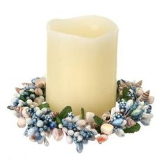 """Pipberry Sea Shell Candle Ring in Blue and Cream4"""" Diameter"""