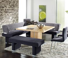 Henry Dining Bench set image 2 - medium sized & Modern Bench Style Dining Table Set Ideas | HomesFeed | dining room ...