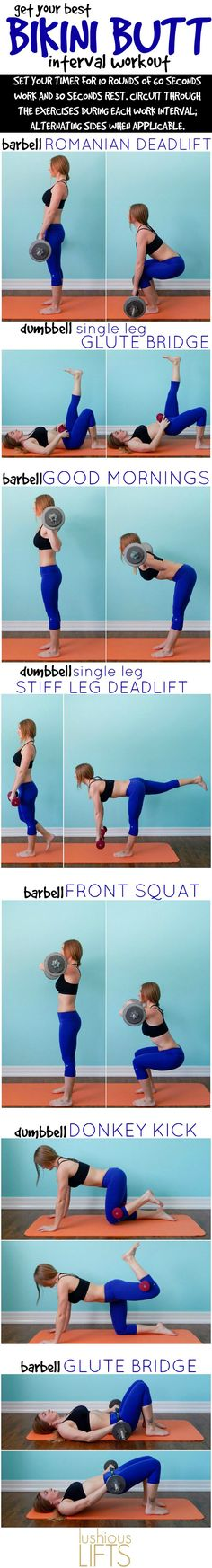 Get Your Best Bikini Butt !!! Get BOOTY! Add this workout to your current fitness routine (eliminating any other lower body days) for about 6 weeks then switch your routine adding new exercises for even better results!!