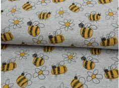 Jersey Bienchen und Blumen grau meliert