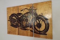 Vintage Indian Motorcycle Screen Print Wood Stain Painting Wall Art on solid BIRCH 3/4 inch thick  Image is hand printed in our home studio using