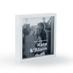 Shadow Box Photo Frame - Block Font Etching White or Black