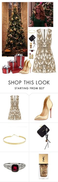"""""""[OP] Xmas Party"""" by youchangewatersea ❤ liked on Polyvore featuring Alice + Olivia, Christian Louboutin, Lana, Guide London, Tiffany & Co. and Yves Saint Laurent"""