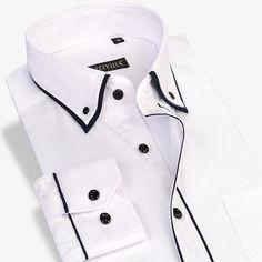 Long Sleeve Men Dress Shirt Social Double Collar Button-Up Patchwork Non-iron Slim Fit Men Casual Business Shirt