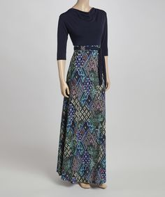 Love this Navy & Green Maxi Dress by  on #zulily! #zulilyfinds