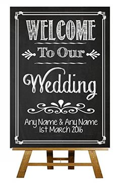 A5 Chalkboard Welcome To Our Wedding Vintage Personalised Wedding Sign / Poster…