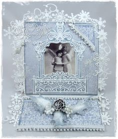 Christmas card by LLC DT Member Tracy Payne, using papers from Maja Design's Vintage Spring Basics collection.