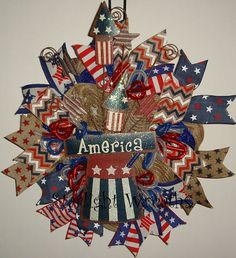 America Burlap and Mesh Wreath Patriotic Decor by StarlightWreaths
