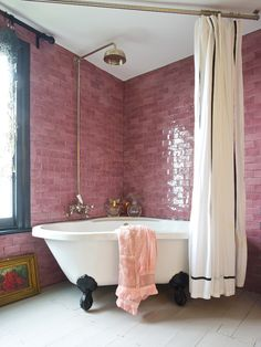 "Pink Glaze!  Love the corner placement of this ""vintage"" look tub and the clever mounting of the shower curtain…..k…I am not a glass door kinda girl…..design by Jo Wood."