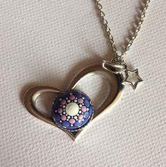 Purple Heart Dotart Mandala Stone Pendant Necklace Glass Jewelry Gift Mother's Day gift Dotilism Dotart