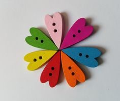 30 x 2-Hole Painted Wooden Buttons - 21mm - Heart - Mixed Colour