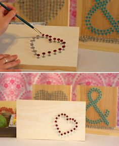 Create a shape with nails then paint the heads. What a cute way to create 3-D art! neat idea for teacher gift