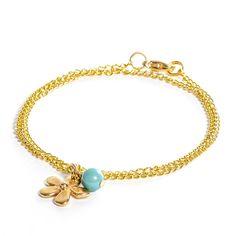 Selbstgemachtes Armband mit Blumenanhänger, Swarovski Crystal Pearls und Gliederkette von Glücksfieber.