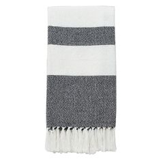 White and Black Native Stripe Throw 50 X 60-in