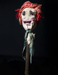 """Christopher Oram design for """"King Lear"""" Royal Shakespeare Company 2007 (wood/fabric w/mechanical mouth). Other props: intricate shoulder bag to hold bauble, spoons the Fool played in their miniature violin case"""