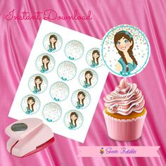 """Braid Doll Cupcake Toppers,Braid Doll Gift tags,Braid Doll Instant DOWNLOAD, Braid Doll Party Favor, Printable Labels, 2""""inch"""