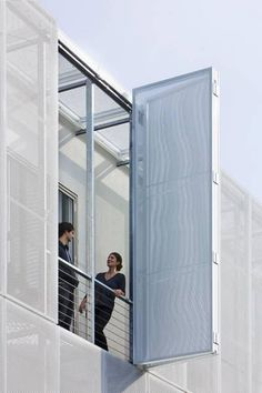 Imagine this bifold to be horizontal in front of a window pane. great for hurricane season! Facade Design, Exterior Design, Interior And Exterior, House Design, Detail Architecture, Interior Architecture, Facade Pattern, Building Skin, Metal Facade