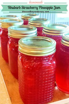 How to make delicious Rhubarb Strawberry Pineapple Jam - super easy recipe and perfect to give as a homemade gift. #blessedbeyondcrazy #jam